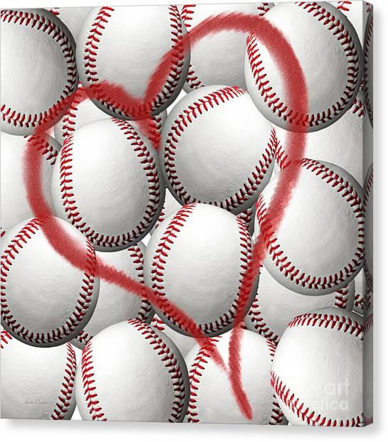 Hardball Canvas Print - Heart Baseballs by Andee Design