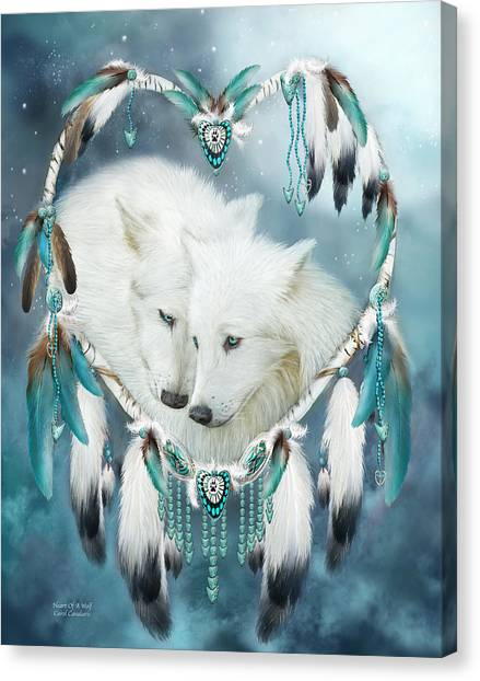 Catchers Canvas Print - Heart Of A Wolf by Carol Cavalaris