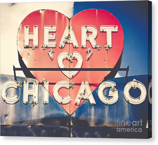 Love Canvas Print - Heart Of Chicago by Emily Kay