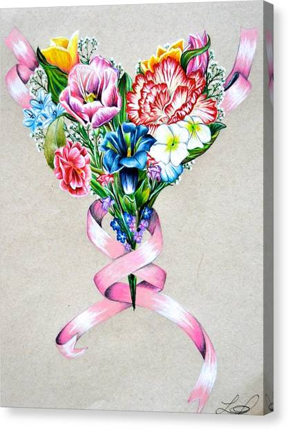 Prisma Colored Pencil Canvas Print - Heart Of Flowers by Lacey OLeary