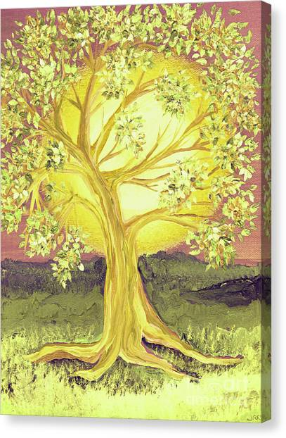 Heart Of Gold Tree By Jrr Canvas Print