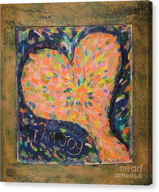 Heart On Curved Wood Canvas Print by Kelly Athena