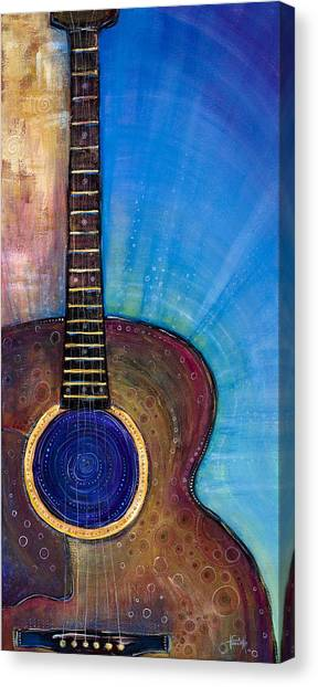 Acoustic Guitars Canvas Print - Heart Song by Tanielle Childers