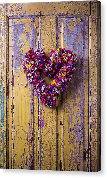 Wreath Canvas Print - Heart Wreath On Yellow Door by Garry Gay