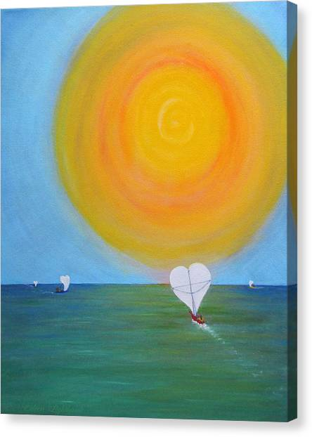 Hearts A-sail On A Hopeful Sea Canvas Print by Eileen Lighthawk