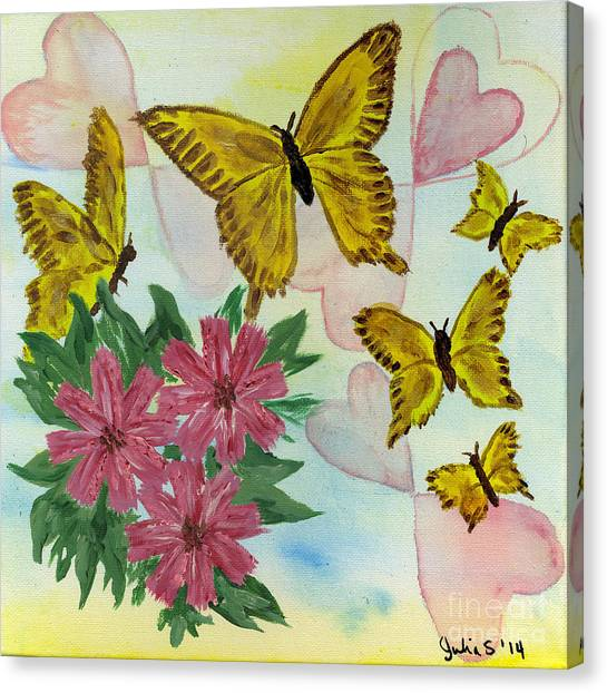 Hearts And Butterflies Canvas Print