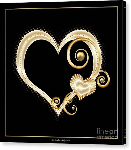 Canvas Print featuring the digital art Hearts In Gold And Ivory On Black by Rose Santuci-Sofranko