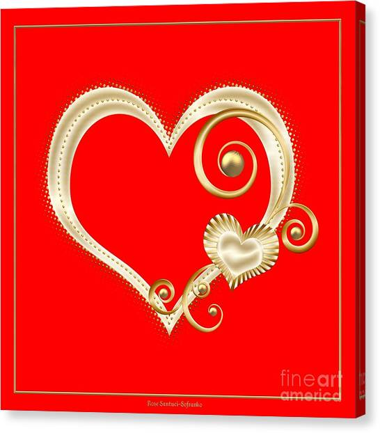 Canvas Print featuring the digital art Hearts In Gold And Ivory On Red by Rose Santuci-Sofranko