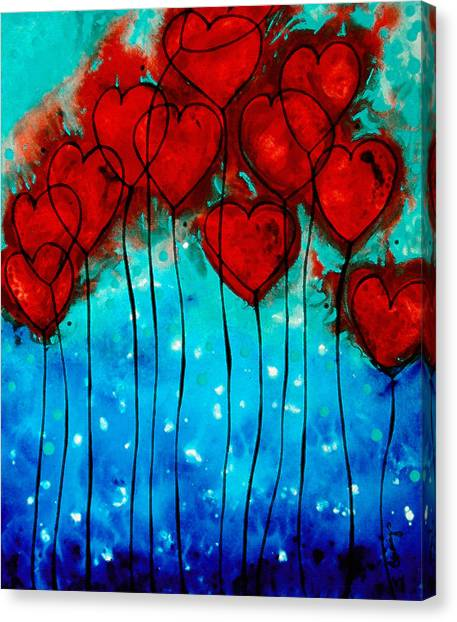 Celebration Canvas Print - Hearts On Fire - Romantic Art By Sharon Cummings by Sharon Cummings