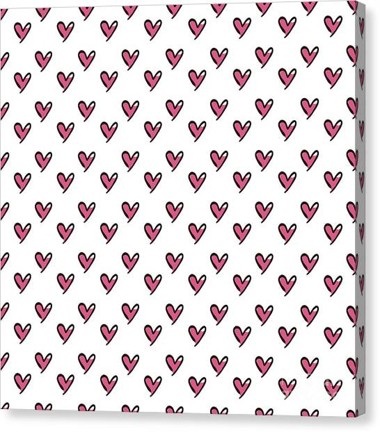 Paper Canvas Print - Hearts Seamless Pattern. Cute Doodle by Bubushonok