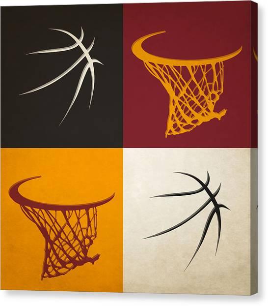 Miami Heat Canvas Print - Heat Ball And Hoop by Joe Hamilton
