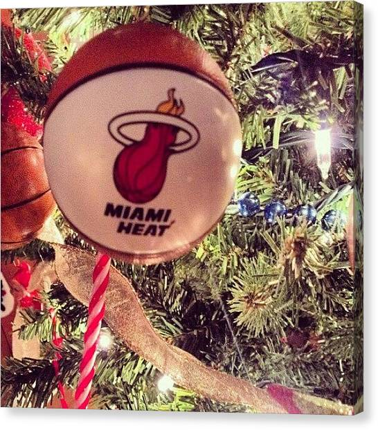 Miami Heat Canvas Print - Heat For The Holidays by Little Flower