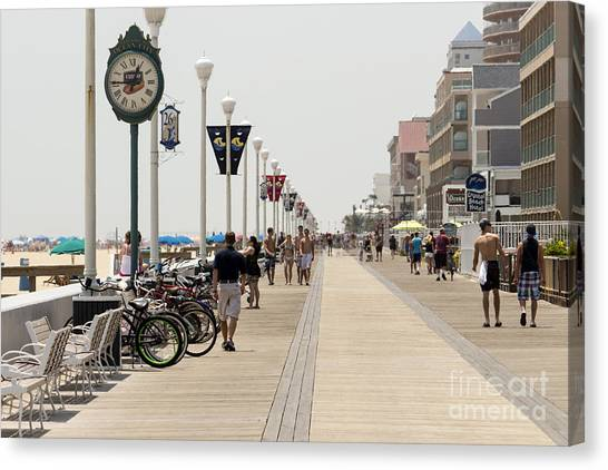 Heat Waves Make The Boardwalk Shimmer In The Distance Canvas Print