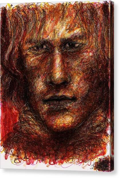 Heath Ledger Canvas Print - Heath Ledger - Red by Rachel Scott