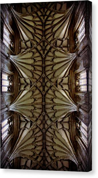 Romanesque Art Canvas Print - Heavenward -- Winchester Cathedral Ceiling by Stephen Stookey