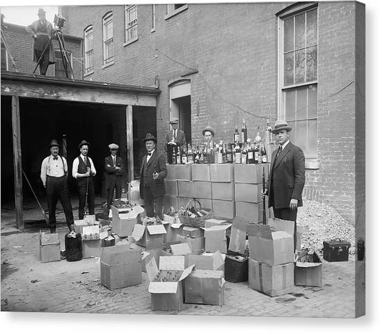 Drunk Canvas Print - Heavily Armed Feds Seize Liquor Cache 1922 by Daniel Hagerman
