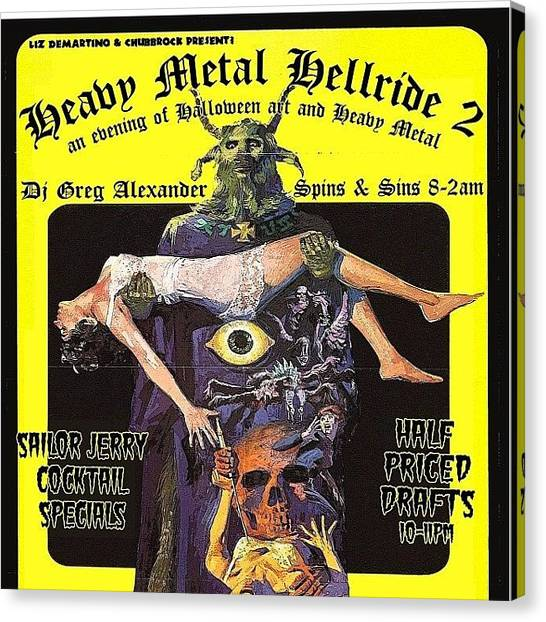 Hell Canvas Print - Heavy Metal Hell Ride 2! October 25th by Elizabeth DeMartino