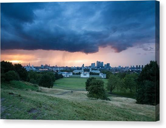 Heavy Rains Over London Canvas Print by Wayne Molyneux