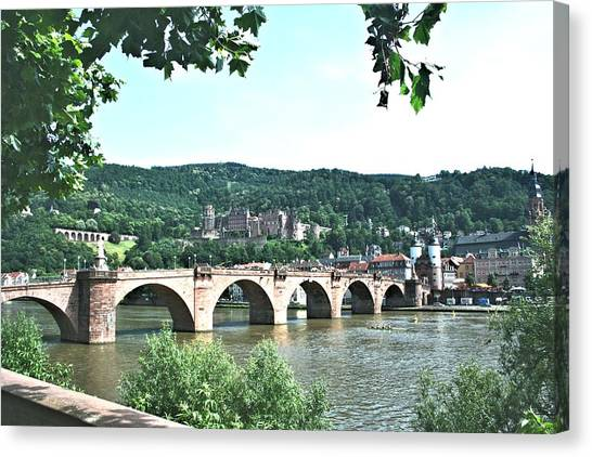 Heidelberg Schloss Overlooking The Neckar Canvas Print
