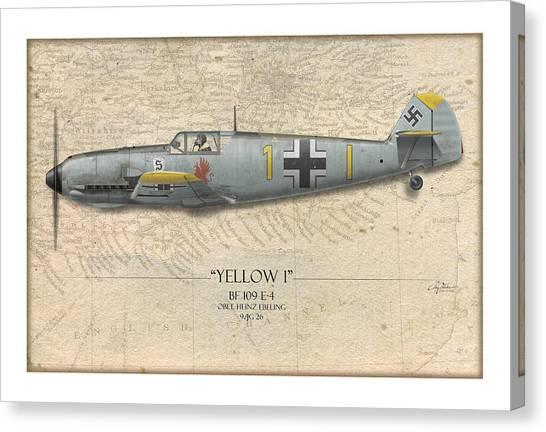 Luftwaffe Canvas Print - Heinz Ebeling Messerschmitt Bf-109 - Map Background by Craig Tinder