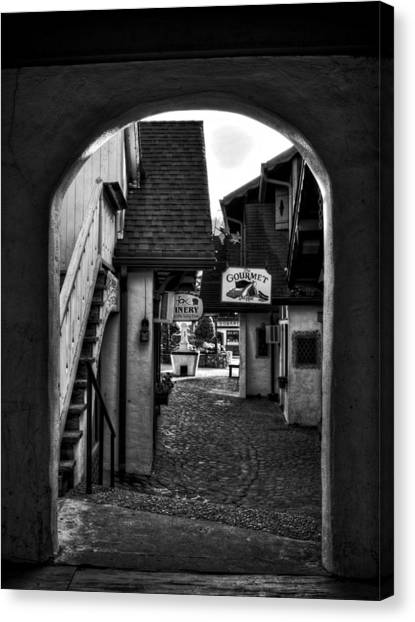 Helen Georgia Side Street In Black And White Canvas Print