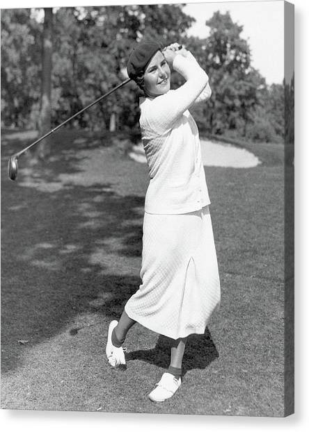 Helen Hicks Playing Golf Canvas Print by Acme