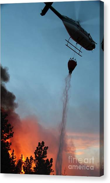 Helicopter Drops Water On White Draw Fire Canvas Print