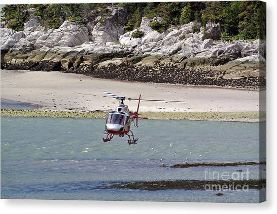 Helicopter Landing In Skagway Canvas Print