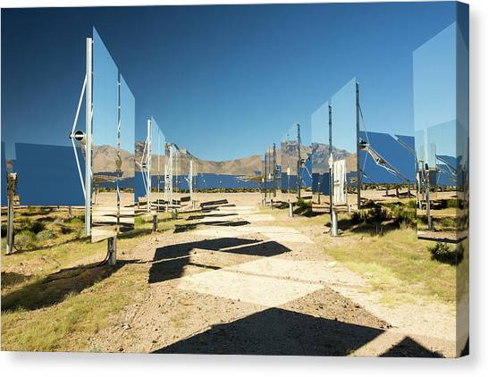 Clean Energy Canvas Print - Heliostats At The Ivanpah Solar by Ashley Cooper