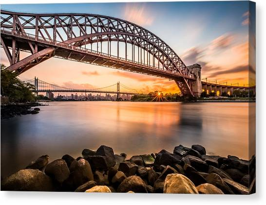 Hell Gate And Triboro Bridge At Sunset Canvas Print