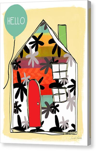 Stripe Canvas Print - Hello Card by Linda Woods
