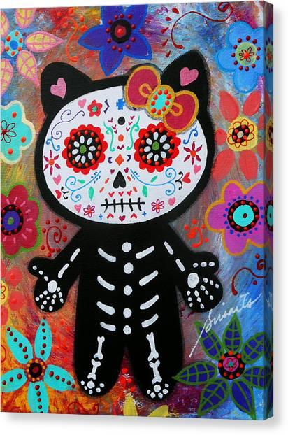 Hello Kitty Dia De Los Muertos Canvas Print