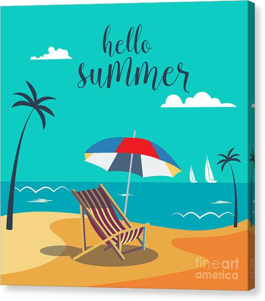 Yacht Canvas Print - Hello Summer Poster. Tropical Beach by Ivector