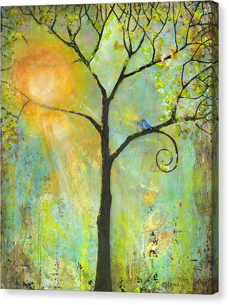 Iphone Case Canvas Print - Hello Sunshine Tree Birds Sun Art Print by Blenda Tyvoll