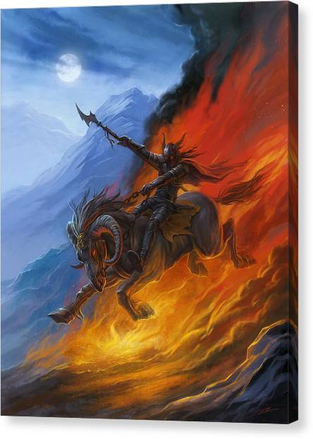 World Of Warcraft Canvas Print - Hell's Horseman by Alan Lathwell