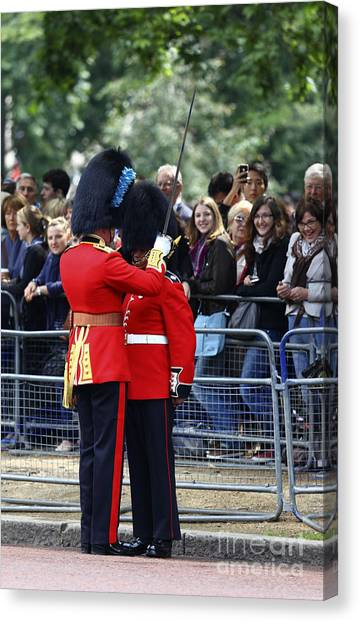 Royal Guard Canvas Print - Helmet Adjustments by James Brunker