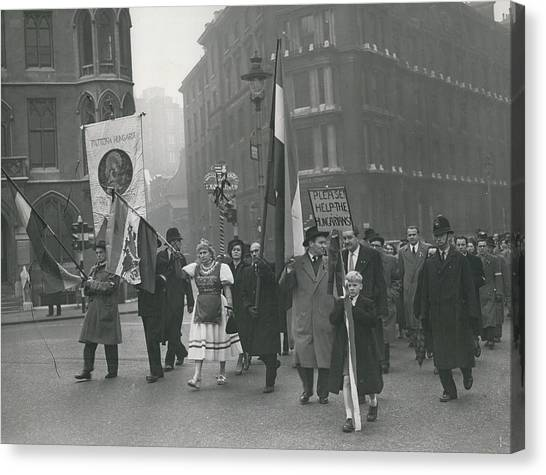 �help Hungary� Parade In Streets Of London Canvas Print by Retro Images Archive