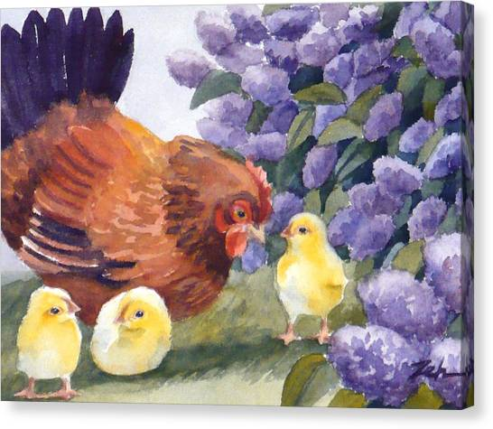 Hen And Chicks Among The Lilacs Canvas Print