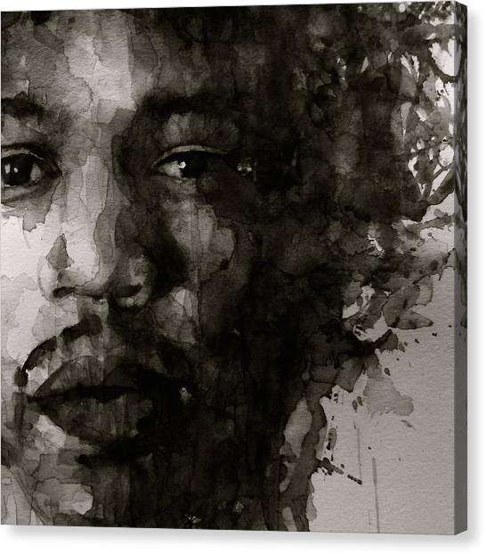 Jimi Hendrix Canvas Print - Hendrix   Black N White by Paul Lovering