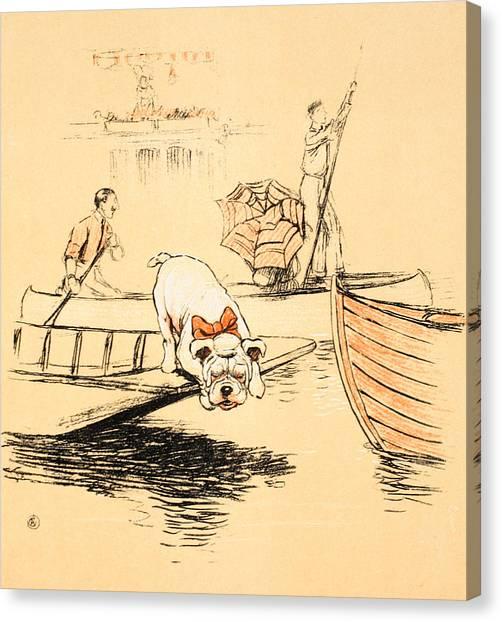 English Bull Dogs Canvas Print - Henley Regatta by Cecil Charles Windsor Aldin