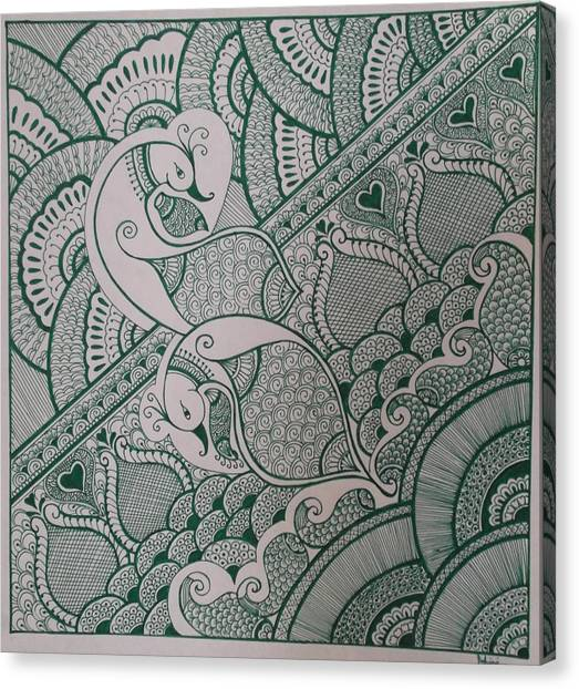 Madhubani Canvas Print - Henna by M Ande