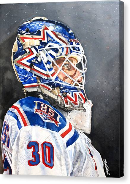 New York Rangers Canvas Print - Henrik Lundqvist - New York Rangers by Michael  Pattison