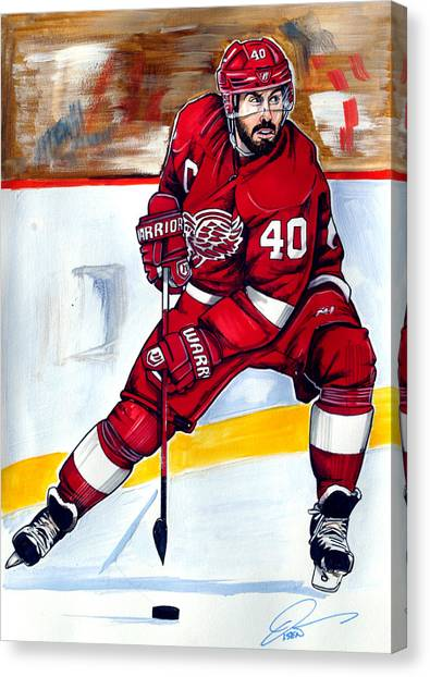 Detroit Red Wings Canvas Print - Henrik Zetterberg Of The Detroit Red Wings by Dave Olsen