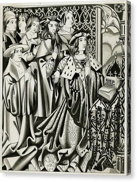 Henry Vi And His Court At  Prayer Canvas Print by Mary Evans Picture Library