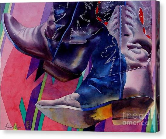 Cowboy Boots Canvas Print - Her Boots by Robert Hooper