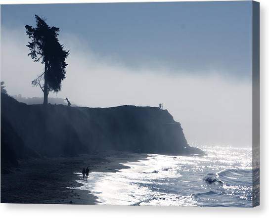 Ocean Cliffs Canvas Print - Here Comes The Fog by John A Royston