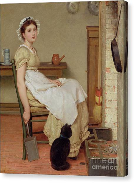 Shovel Canvas Print - Her First Place by George Dunlop Leslie