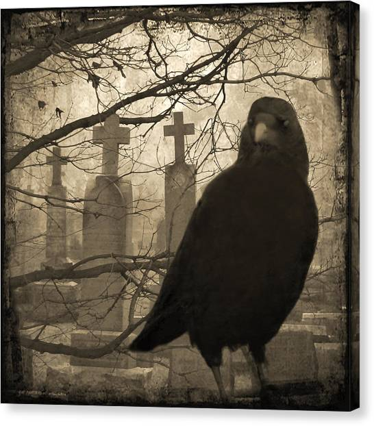 Ravens In Graveyard Canvas Print - Her Graveyard by Gothicrow Images