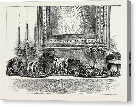Woodcocks Canvas Print - Her Majestys The Queens Sideboard At Christmas 1889 by Litz Collection
