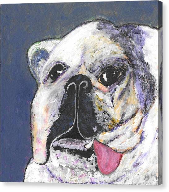 English Bull Dogs Canvas Print - Her Name Is Lola by Lisa Noneman